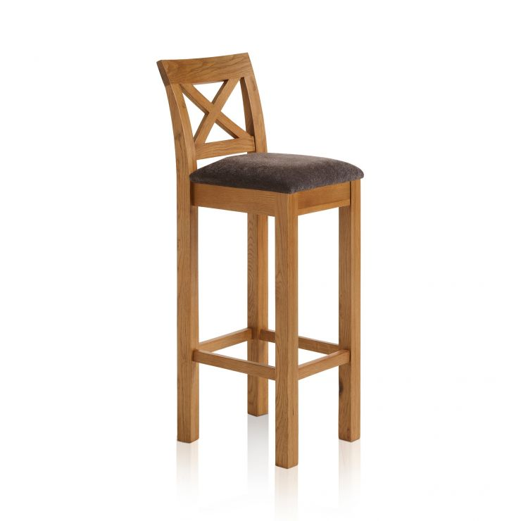 Rhodes Rustic Solid Oak Cross Back Bar Stool with Plain Charcoal Fabric Pad - Image 4