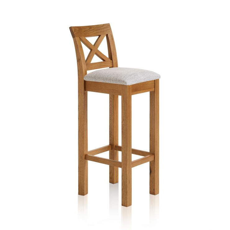 Rhodes Rustic Solid Oak Cross Back Bar Stool with Plain Grey Fabric Pad - Image 4
