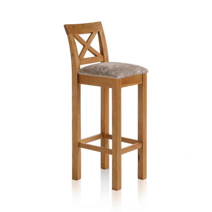Rhodes Rustic Solid Oak Cross Back Bar Stool with Plain Truffle Fabric Pad