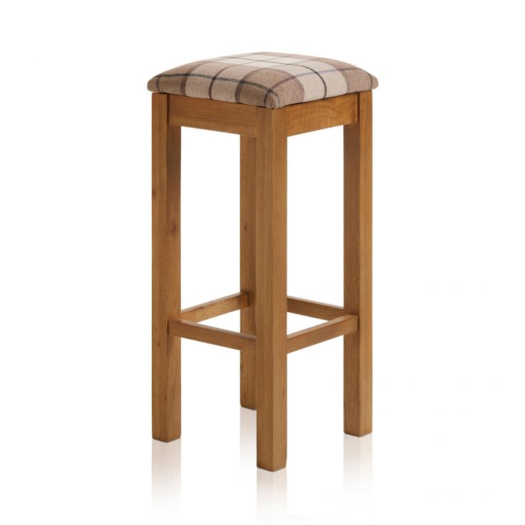 Rhodes Rustic Solid Oak Square Bar Stool with Check Brown Fabric Pad