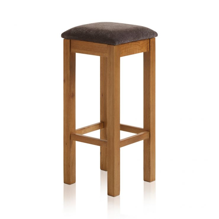 Rhodes Rustic Solid Oak Square Bar Stool with Plain Charcoal Fabric Pad - Image 4
