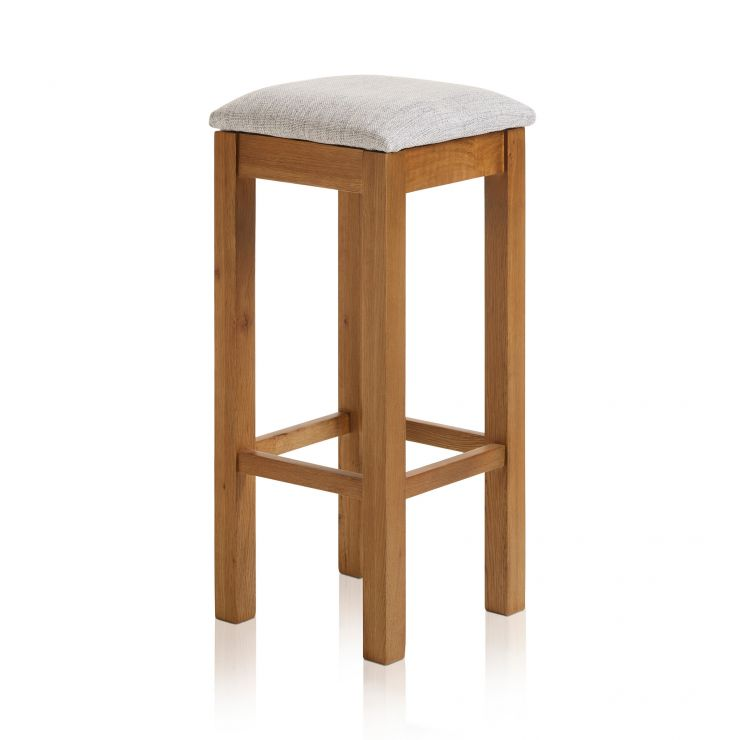 Rhodes Rustic Solid Oak Square Bar Stool with Plain Grey Fabric Pad