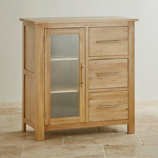 Rivermead Natural Solid Oak 3 Drawer Glazed Media Cabinet