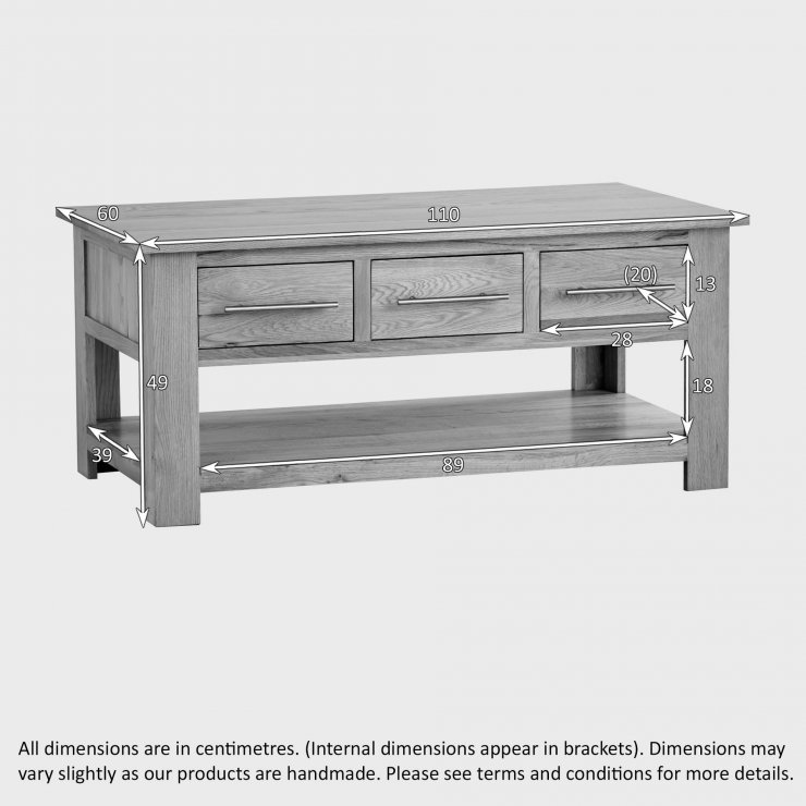 Indore Coffee Table With 6 Drawers: Rivermead 6 Drawer Coffee Table In Natural Solid Oak
