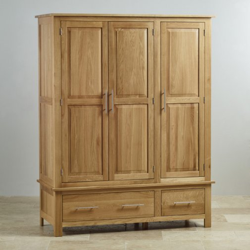 Rivermead Natural Solid Oak Triple Wardrobe