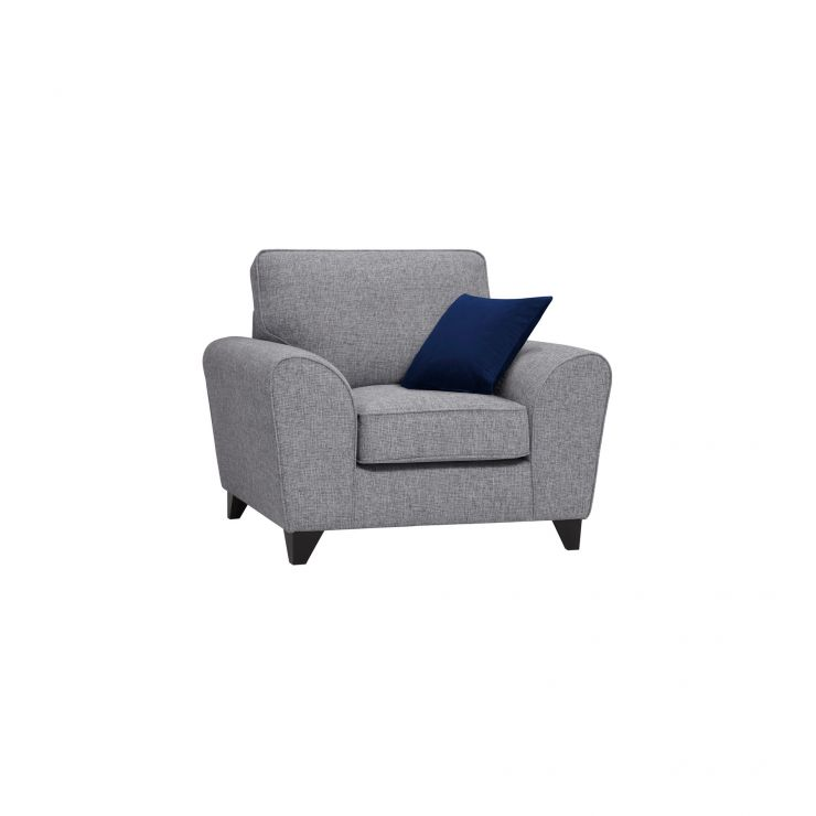 Robyn Armchair Silver Fabric with Royal Blue Scatters