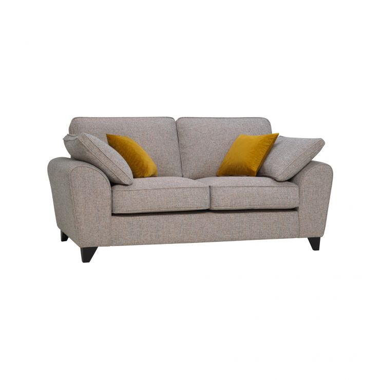 Robyn Pebble Fabric 2 Seater Sofa with Mustard Scatters