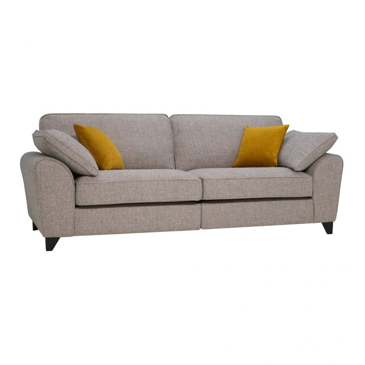 Robyn Pebble Fabric 4 Seater Sofa with Mustard Scatters
