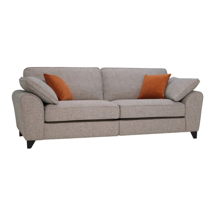 Robyn Pebble Fabric 4 Seater Sofa with Rust Scatters