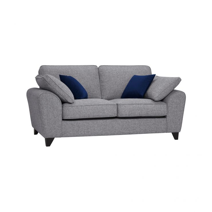 Robyn Silver Fabric 2 Seater Sofa with Royal Blue Scatters