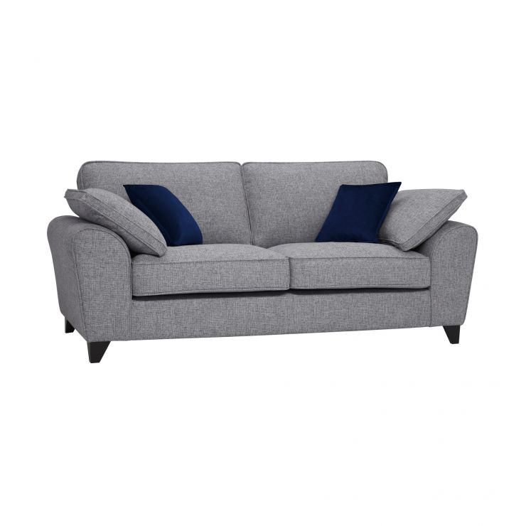 Robyn Silver Fabric 3 Seater Sofa with Royal Blue Scatters