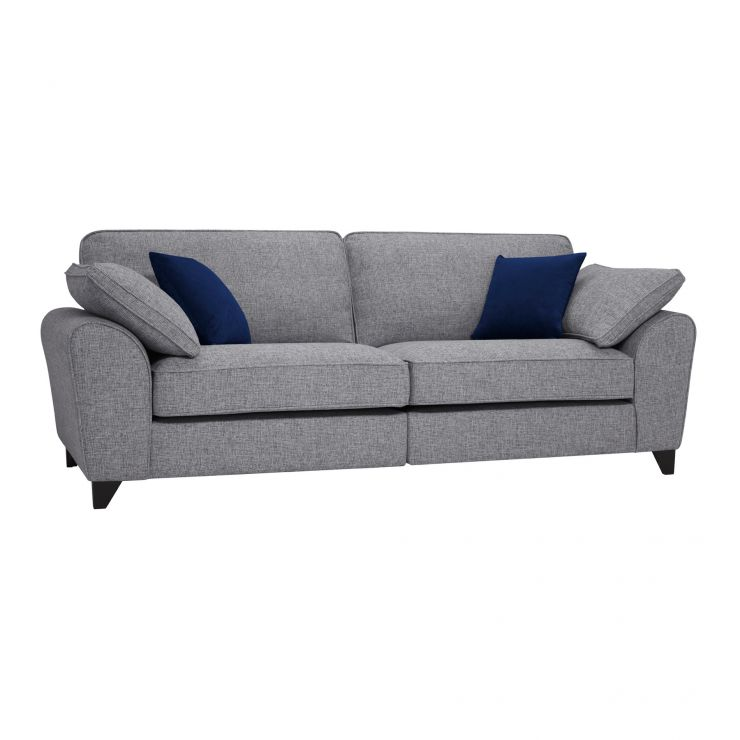 Robyn Silver Fabric 4 Seater Sofa with Royal Blue Scatters