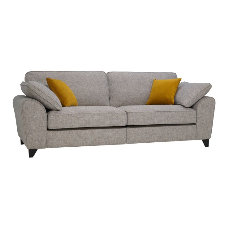 Robyn Spa Fabric 4 Seater Sofa with Mustard Scatters