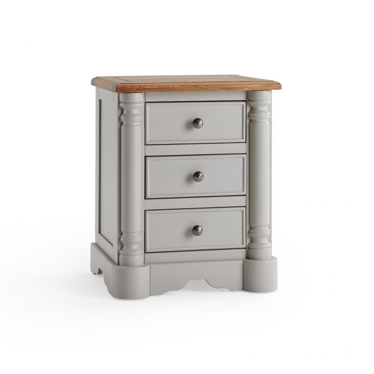 Roman Rustic Solid Oak & Painted 3 Drawer Bedside Table