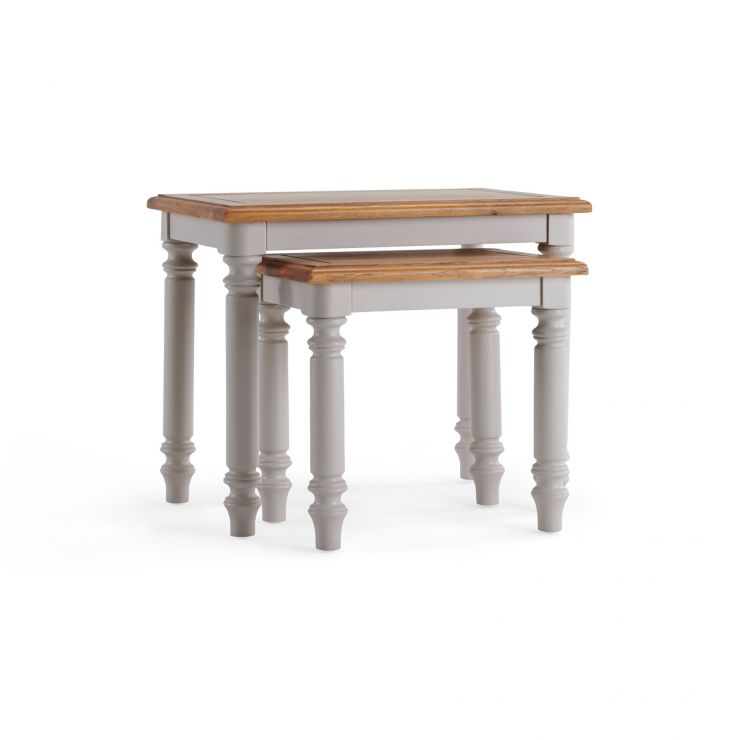 Roman Rustic Solid Oak & Painted Nest of 2 Tables - Image 1