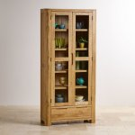 Romsey Natural Solid Oak Display Cabinet - Thumbnail 2