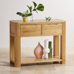 Romsey Natural Solid Oak Console Table - Thumbnail 3