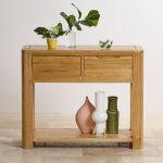 Romsey Natural Solid Oak Console Table - Thumbnail 4