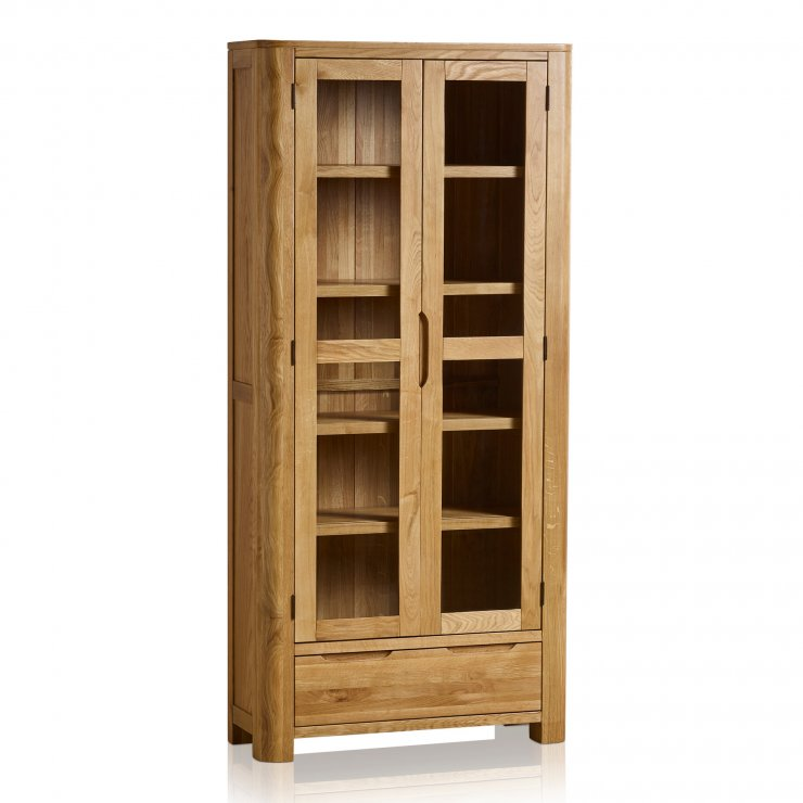 Romsey Natural Solid Oak Display Cabinet - Image 1