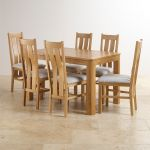 Romsey Natural Solid Oak Extending Dining Set with 6 Arched Back and Plain Grey Fabric Chairs - Thumbnail 1