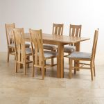 Romsey Natural Solid Oak Extending Dining Set with 6 Arched Back and Plain Grey Fabric Chairs - Thumbnail 3