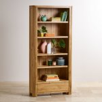 Romsey Natural Solid Oak Tall Bookcase - Thumbnail 3