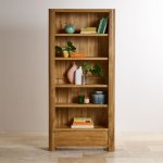 Romsey Natural Solid Oak Tall Bookcase - Thumbnail 4