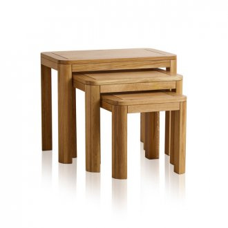 Romsey Natural Solid Oak Nest of 3 Tables