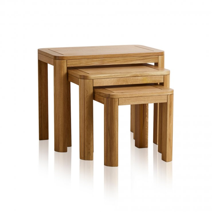 Romsey Natural Solid Oak Nest of 3 Tables - Image 4