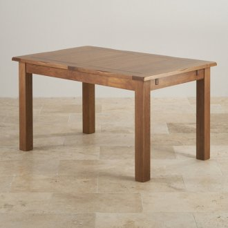 """Rushmere Rustic Solid Oak 4ft 7"""" x 3ft Extending Dining Table"""