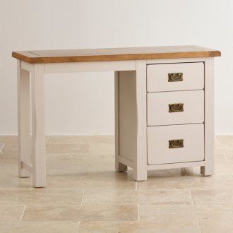 Kemble Rustic Solid Oak and Painted 3 Drawer Dressing Table
