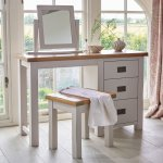 Kemble Rustic Solid Oak and Painted 3 Drawer Dressing Table  - Thumbnail 2