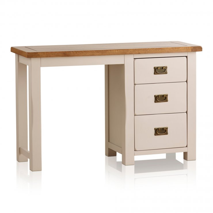 Kemble Rustic Solid Oak and Painted 3 Drawer Dressing Table  - Image 4