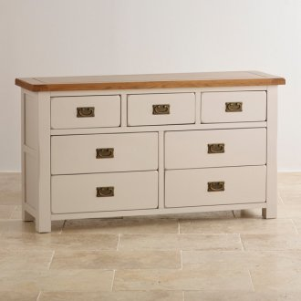 Kemble Rustic Solid Oak and Painted 3+4 Chest of Drawers