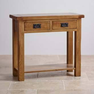 Original Rustic Solid Oak Console Table