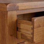 Original Rustic Solid Oak 3 Drawer Bedside Table - Thumbnail 4