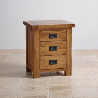 Original Rustic Solid Oak 3 Drawer Bedside Table