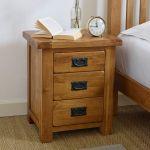Original Rustic Solid Oak 3 Drawer Bedside Table - Thumbnail 3