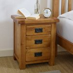 Original Rustic Solid Oak 3 Drawer Bedside Table - Thumbnail 2