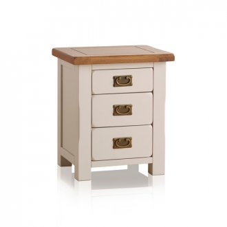 Kemble Rustic Solid Oak and Painted 3 Drawer Bedside Table