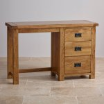 Original Rustic Solid Oak 3 Drawer Dressing Table  - Thumbnail 2