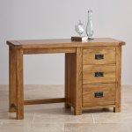 Original Rustic Solid Oak 3 Drawer Dressing Table  - Thumbnail 4