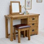 Original Rustic Solid Oak 3 Drawer Dressing Table  - Thumbnail 3