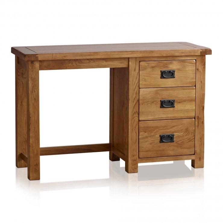 Original Rustic Solid Oak 3 Drawer Dressing Table  - Image 7