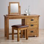 Original Rustic Solid Oak 3 Drawer Dressing Table Set - Thumbnail 3