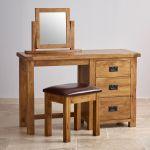 Original Rustic Solid Oak 3 Drawer Dressing Table Set - Thumbnail 2