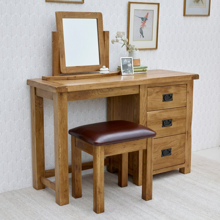 Original Rustic Solid Oak 3 Drawer Dressing Table Set