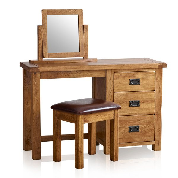 Original Rustic Solid Oak 3 Drawer Dressing Table Set