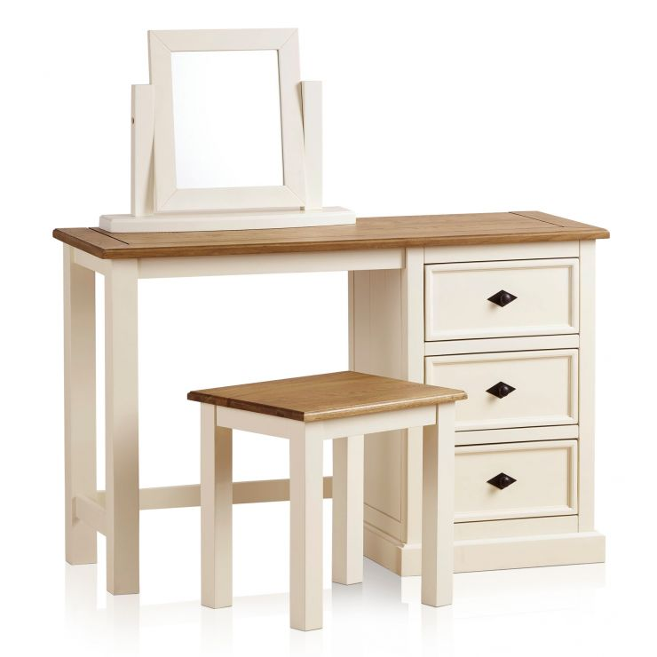Shutter Brushed Oak and Painted Dressing Table Set - Image 9
