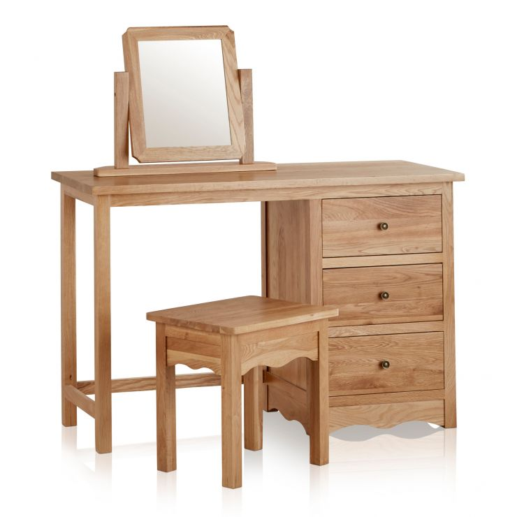 Cairo Natural Solid Oak Dressing Table Set - Image 7